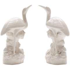 A Pair of White Glazed Stork vases