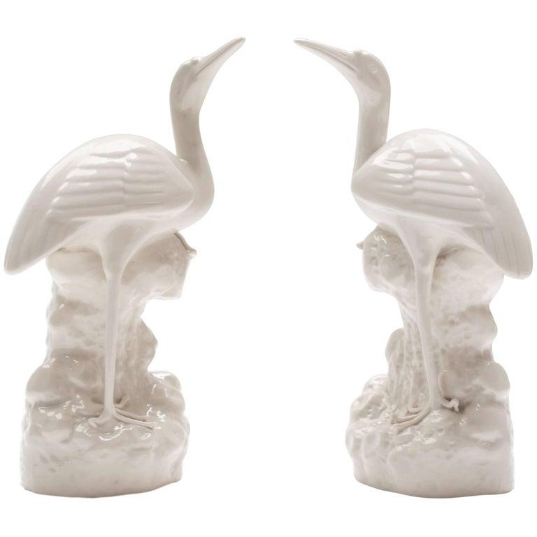 A Pair of White Glazed Stork vases