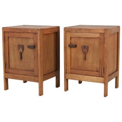 Pair of Dutch Art Deco Amsterdam School Nightstands or Bed Side Tables, 1920s