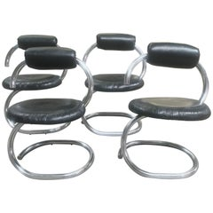 Italian Set of Four Cobra Chairs by Giotto Stoppino from 1970s
