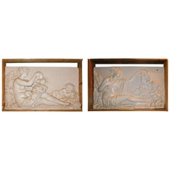 Couple of Antique Panels Made of Scagliola