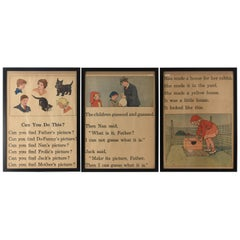 Three Antique Children's Story Book Pages