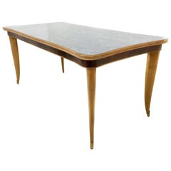 Beech and Maple Dining Table with a Back-Painted Glass Top, Italy, 1950s