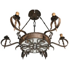 Antique Large Arts and Crafts Wrought Iron Medieval and Castle Look Chandelier