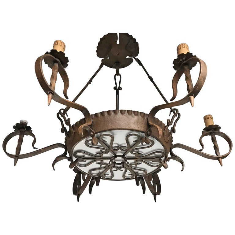 Antique Large Arts & Crafts Wrought Iron Medieval and Castle Look Chandelier For Sale