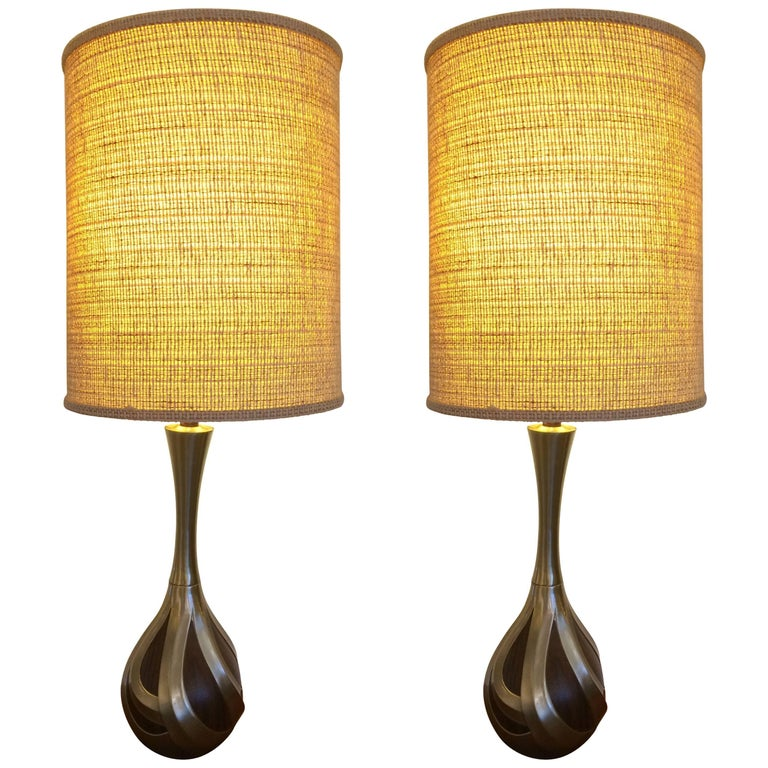 Cool Pair Of Tall Laurel Lamp Company Mid Century Modern Walnut Metal Lamps