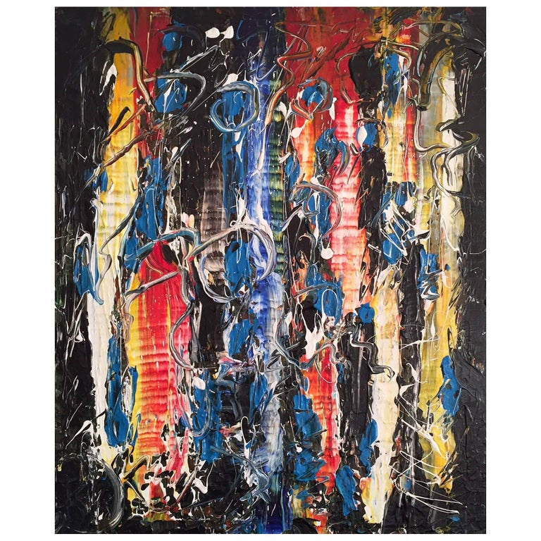 'Nighttime in Roppongi' Acrylic Mixed-Media on Canvas Abstract Painting