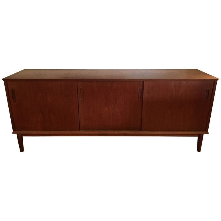 Mid Century Modern Danish Teak Credenza Sideboard Cabinet