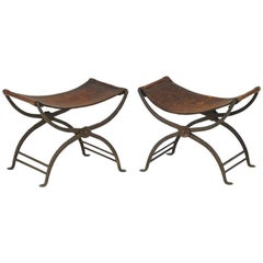 Pair of Wrought Iron Curule Stools Attributed to Morgan Colt