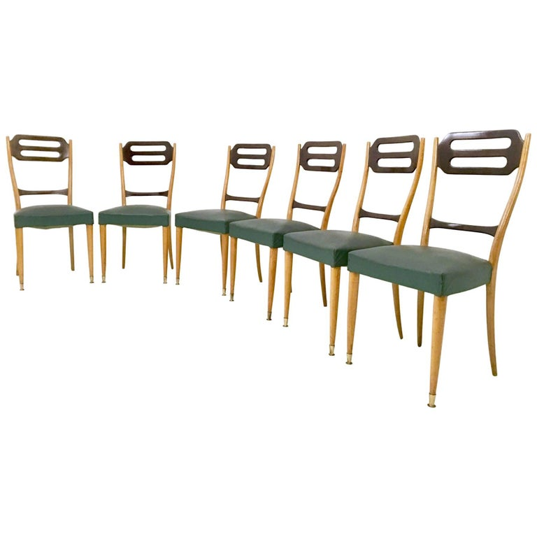 Set of Six Dining Chairs in Maple and Dyed Beech covered in Green Skai, 1950s
