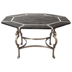 Spectacular Octagonal Dining Table in Black Slate, Marble and Steel, 1960s
