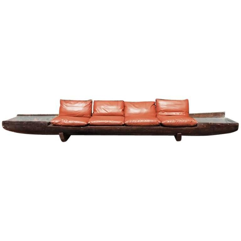 Huge Sofa in Brazilian Hardwood by Jose Zanine Caldas, 1973 For Sale