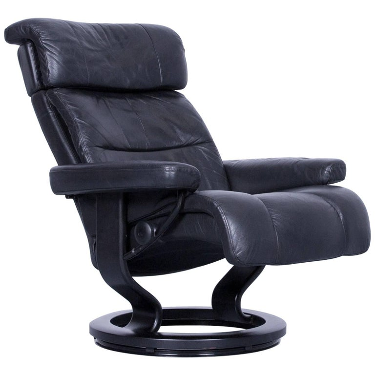 Stressless Relax Armchair Black Leather Recliner Tv Chair Wood For