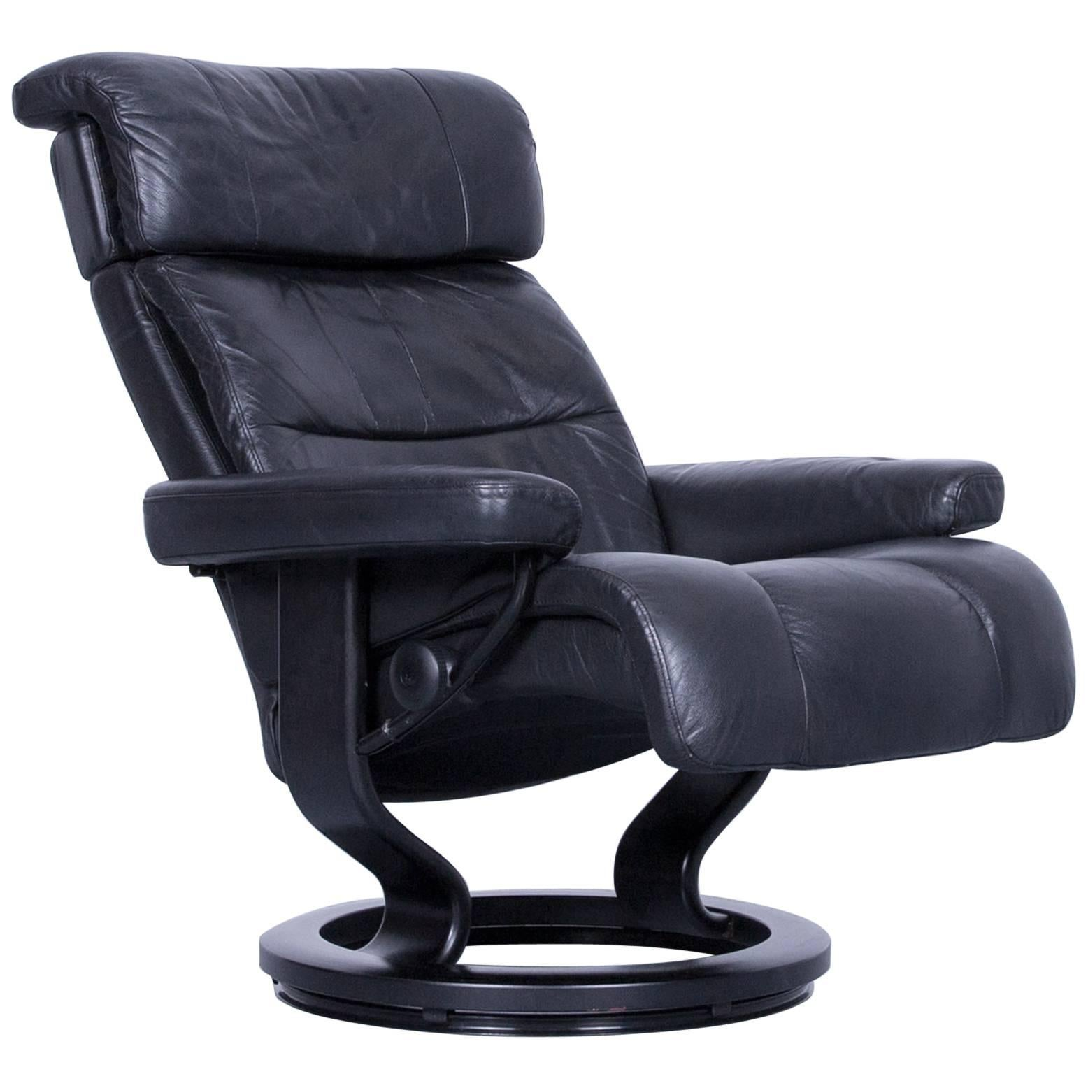Stressless Relax Armchair Black Leather Relax Recliner TV Chair Wood For  Sale