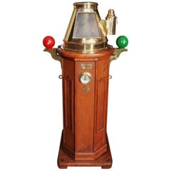 German Mahogany & Brass Nautical Binnacle, Maker Kreuziger Hamburg 11 Circa 1870