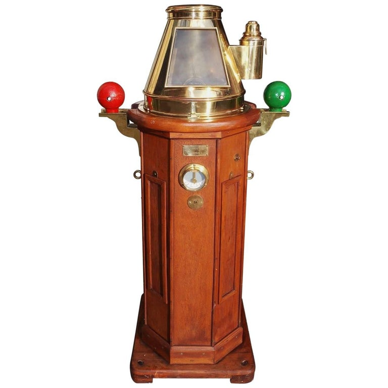 German Mahogany & Brass Nautical Binnacle, Maker Kreuziger Hamburg 11 Circa 1870 For Sale
