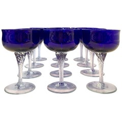 Vintage Cut Cobalt to Clear Crystal Coupe Glasses, Set/9