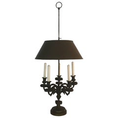 Cast Patinated Bronze Candelabra Lamp with Tole Shade