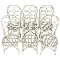 Set of Six Thonet Style Whicker Chairs