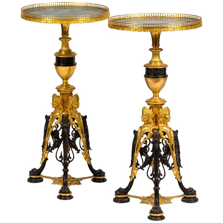 Pair of malachite topped gilt and patinated bronze round side tables