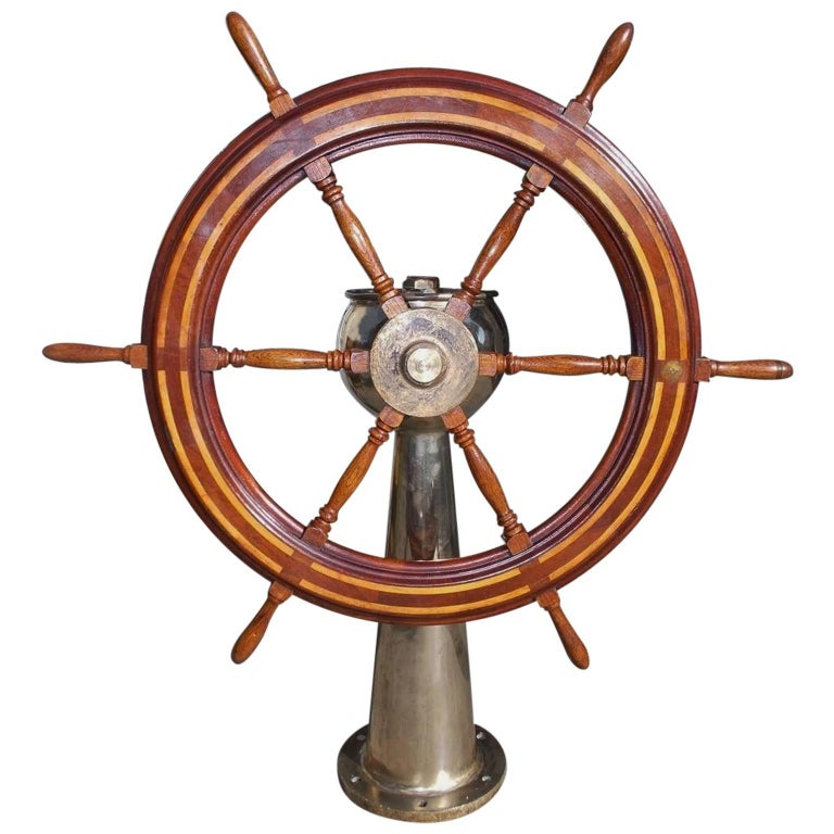 American Mahogany Nautical Ship Wheel Mounted on Brass Geared Pedestal. C. 1850