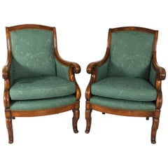 Pair of Early 20th Century Biedermeier Style Walnut Armchairs