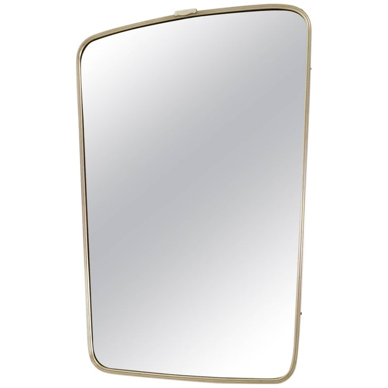 Wall Mirror with Brass Frame, Italy, 1950s