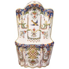 19th Century French Hand Painted Wall Hanging Flower Holder from Rouen