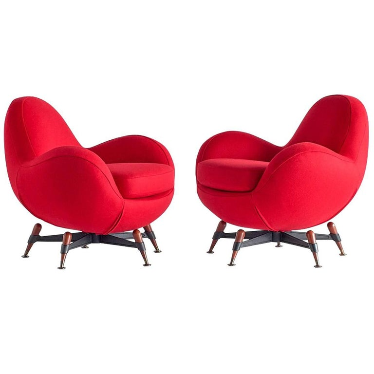 Pair of Rito Valla 'Mercury' Lounge Chairs for IPE Bologna, Italy, 1963