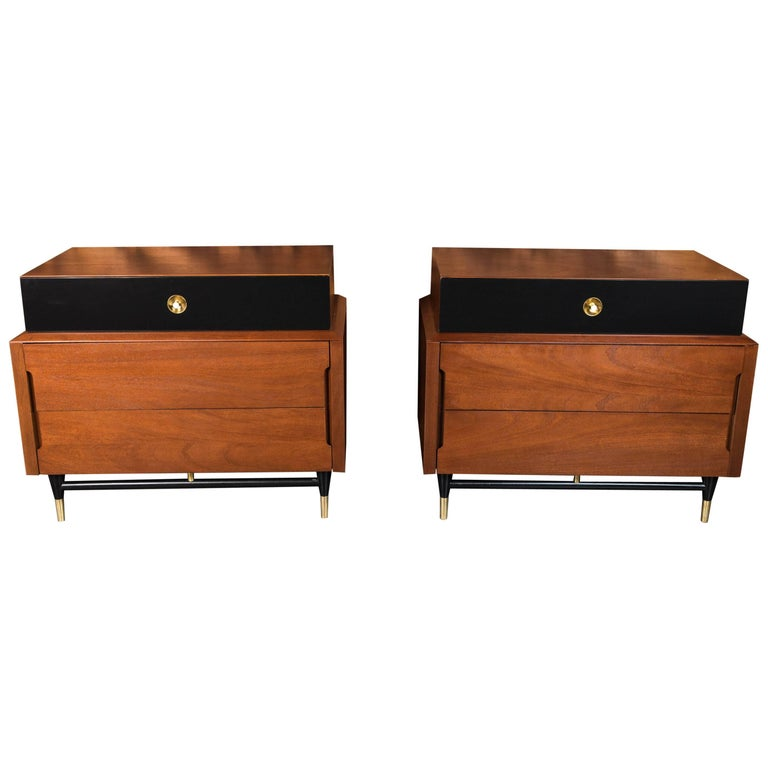 Midcentury Refinished and Lacquered Small Dressers with Brass Details, Pair