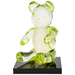 Bear, a unique lime green glass sculpted animal figurine by Elliot Walker