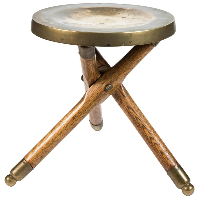 Vintage Wood And Brass Tripod Stool At 1stdibs