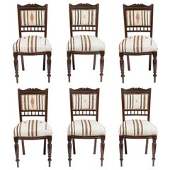Set of Six Vintage Dining Chairs in Turkish Rug