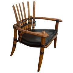 "Game of Thrones Exotic ""Mendi"", Handmade Armchair in Palmwood"