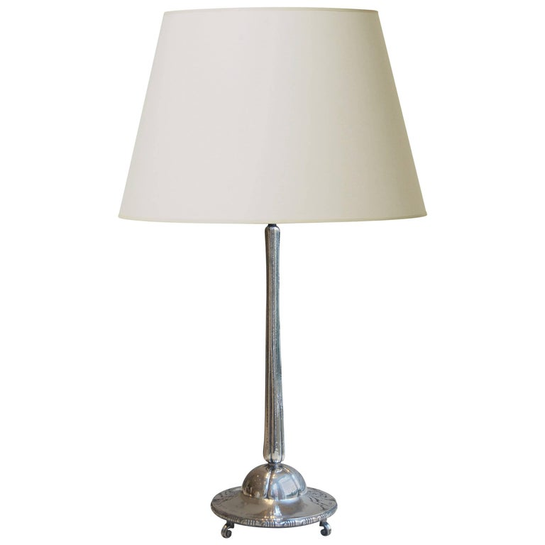 Fine Arts and Crafts Silver Table Lamp by K. Andersson, Stockholm