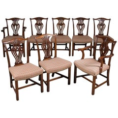 Set Eight Antique Mahogany Chippendale Style Dining Chairs circa 1900