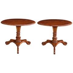 Handsome Pair of Swedish Biedermeier Style Circular Tilt-Top Pedestal Tables