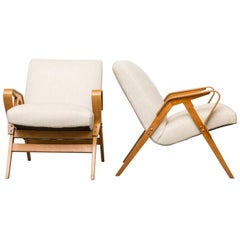Pair of Czech Tatra Bent Plywood Lounge Chairs