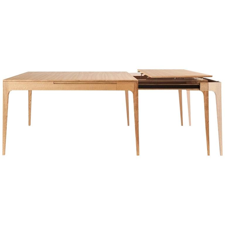 Minimalist Oak Long Dinner Table Extendable For Sale