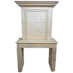 17th Century Louis XVI Limestone Mantel with Trumeau