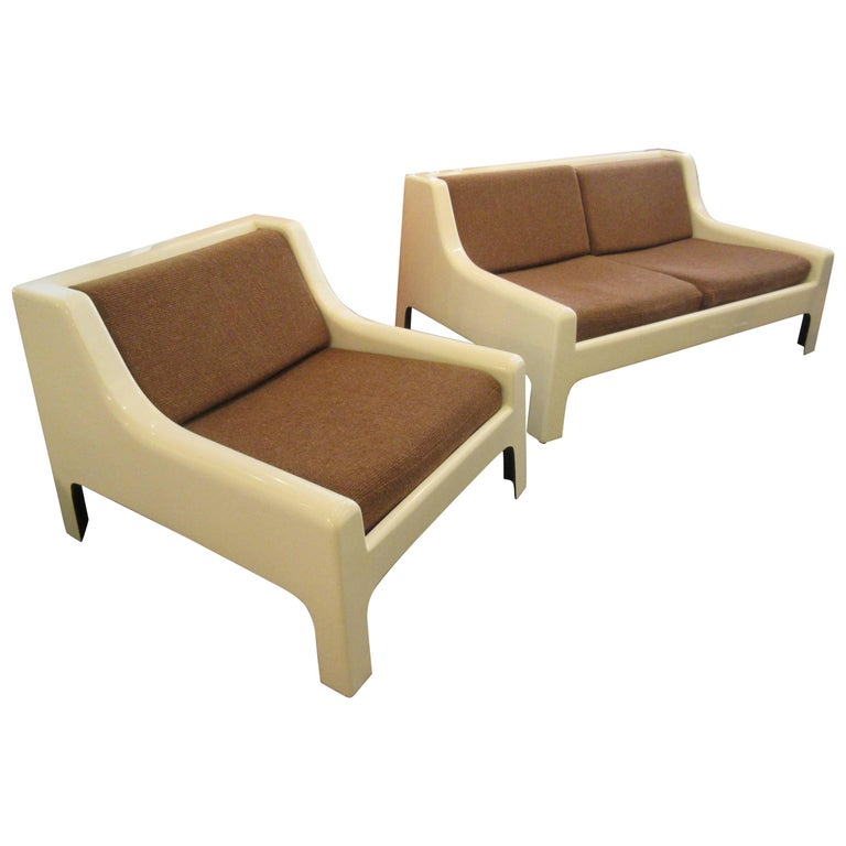 Cappellini 1960s Fiberglass Sofa and Chair For Sale