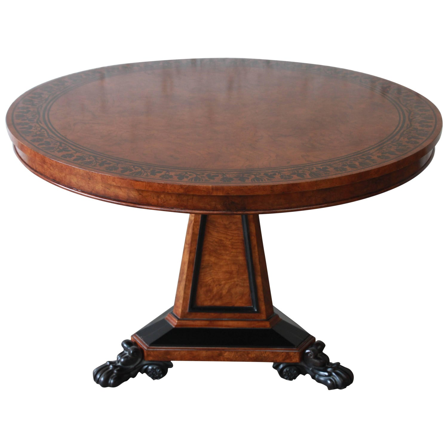 Baker Furniture Stately Homes Collection Burl Ash Regency Centre Table 12995 Quality Antique Mahogany Inlaid Round