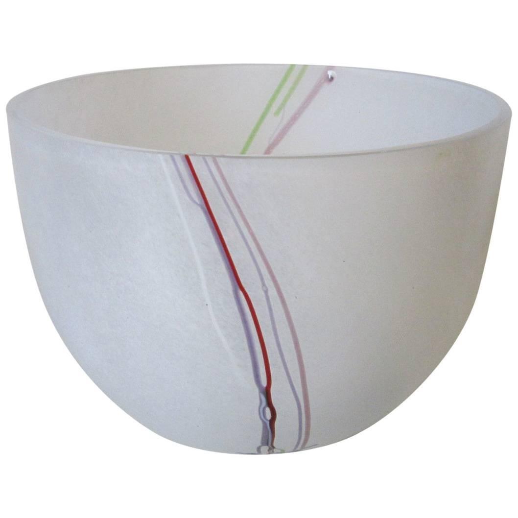 Large Bertil Vallien Kosta Boda Swedish Art Glass Bowl