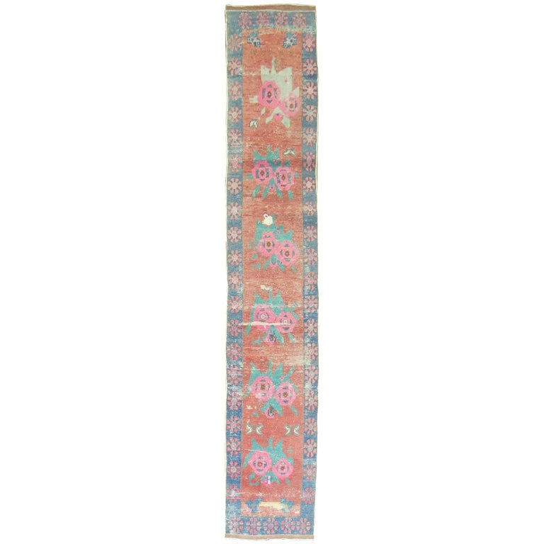Dated Turkish Shabby Chic Floral Narrow Runner  For Sale
