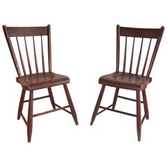 19th Century Original Red Painted Chairs from Pennsylvania, Pair