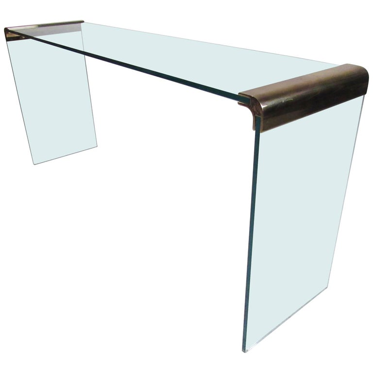 Pace Collection Waterfall Console Table in Glass and Brass