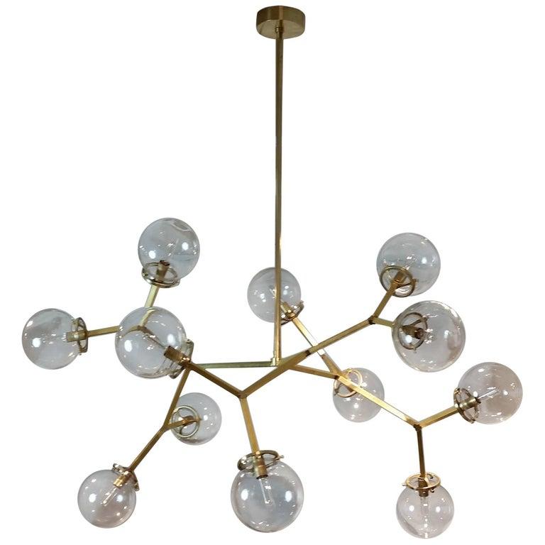 "Brass & Glass Model 525 ""Macro Molecular"" Chandelier by Blueprint Lighting, 2018"