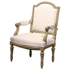 19th Century French Louis XVI Carved Painted Desk Armchair with Muslin