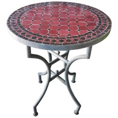 "24"" Black / Burgundy Moroccan Mosaic Table - CR4"