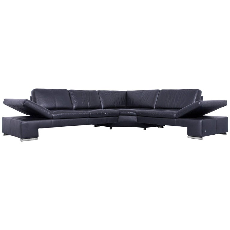 Musterring domo designer corner sofa leather black couch for Musterring sofa